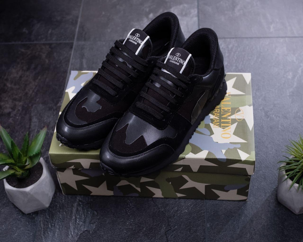 Мужские кроссовки Valentino Garavani Черные Кожаные, Реплика