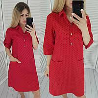 Модное платье-рубашка с карманами в мелкие сердечки, арт 831, цвет красный