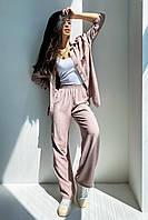 ✔️ Летний брючный коттоновый костюм рубашка и штаны клеш 42-48 размеры разные расцветки