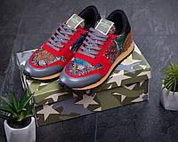 Чоловічі кросівки Valentino Garavani Червоні Текстильні, Репліка, фото 1