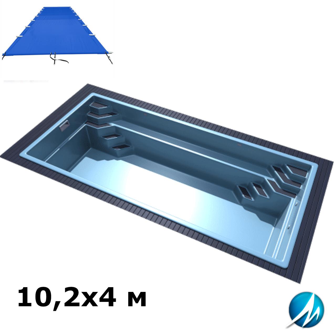 Поливиниловое накрытие для стекловолоконного бассейна 10,2х4 м