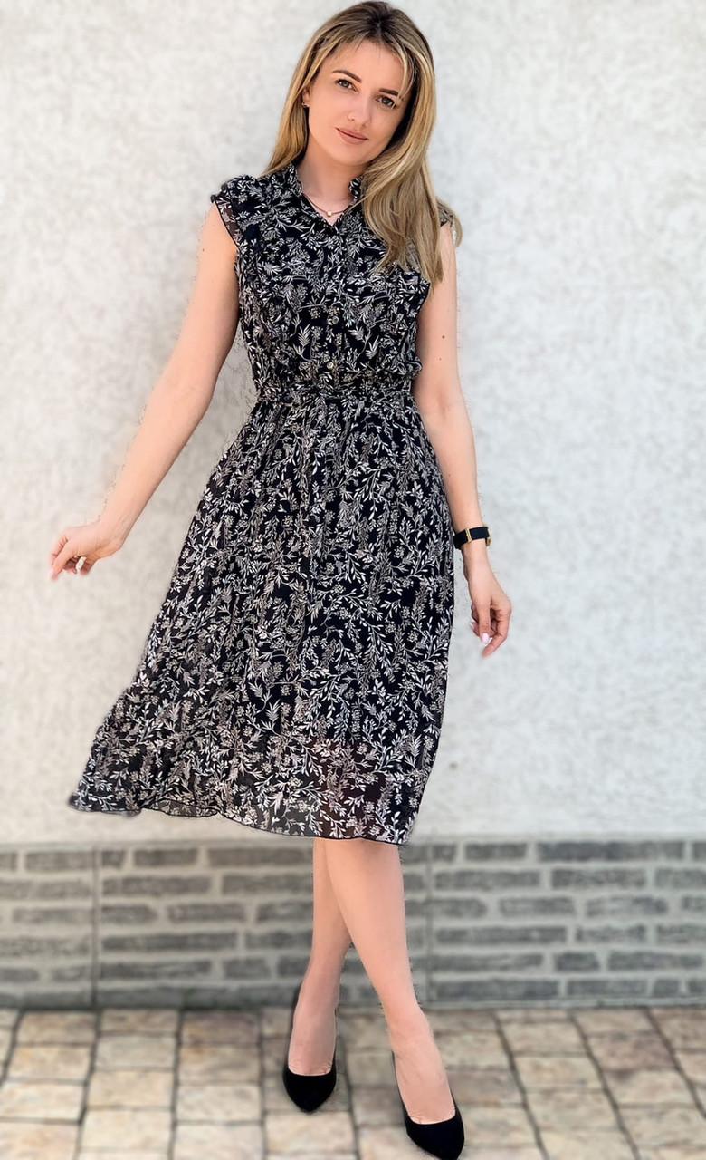 Шифонове легке жіноче плаття з рюшами завдовжки міді