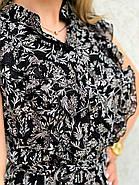 Шифонове легке жіноче плаття з рюшами завдовжки міді, фото 3