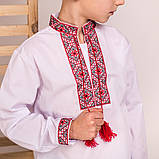 Дитяча вишиванка для хлопчика з червоною вишивкою, фото 2