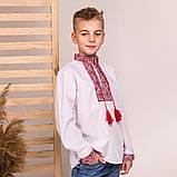 Дитяча вишиванка для хлопчика з червоною вишивкою, фото 3