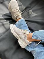 Легкие удобные кроссовки Adidas Ozweego в серо-коричневом цвете (Адидас Озвиго кроссовки весна/лето)