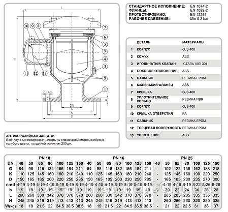 Вантуз повітряний фланцевий двокамерний T.I.S. (Італія) DN 200 PN 1,6, фото 2