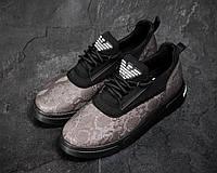 Чоловічі кросівки Armani Сірі Текстильні, Репліка, фото 1