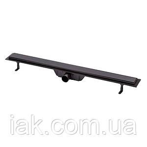 Трап лінійний Qtap Dry Tile304-900MBLA з нержавіючою решіткою 900х70