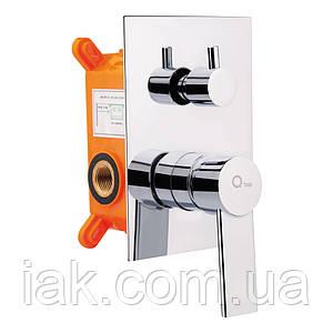 Змішувач прихованого монтажу для ванни Qtap Form 010-22 SQ CRM для двох споживачів