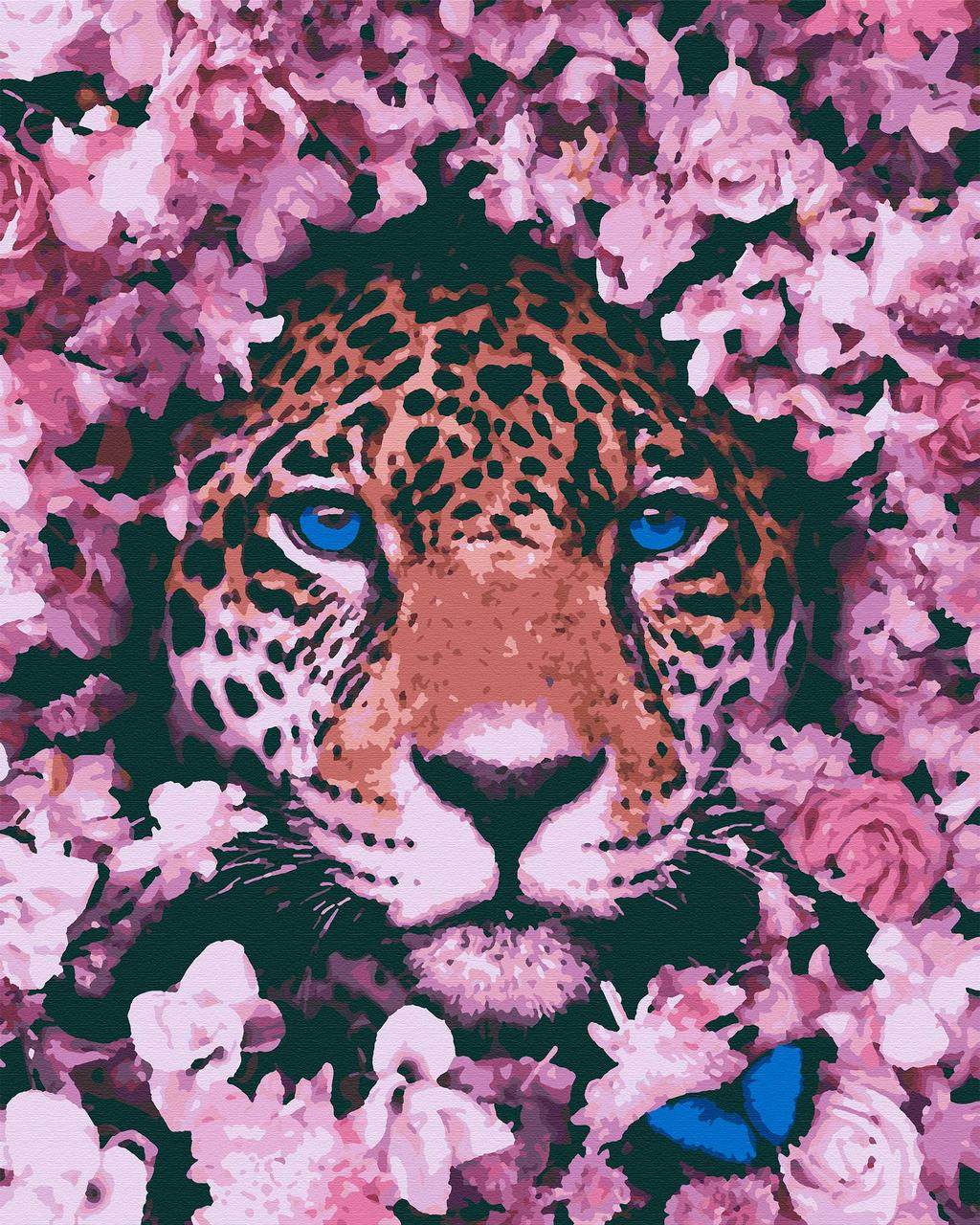 Картина за номерами тварини леопард 40х50 Плямистий Рожевий