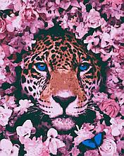 Картина по номерам животные леопард 40х50 Пятнистый Розовий