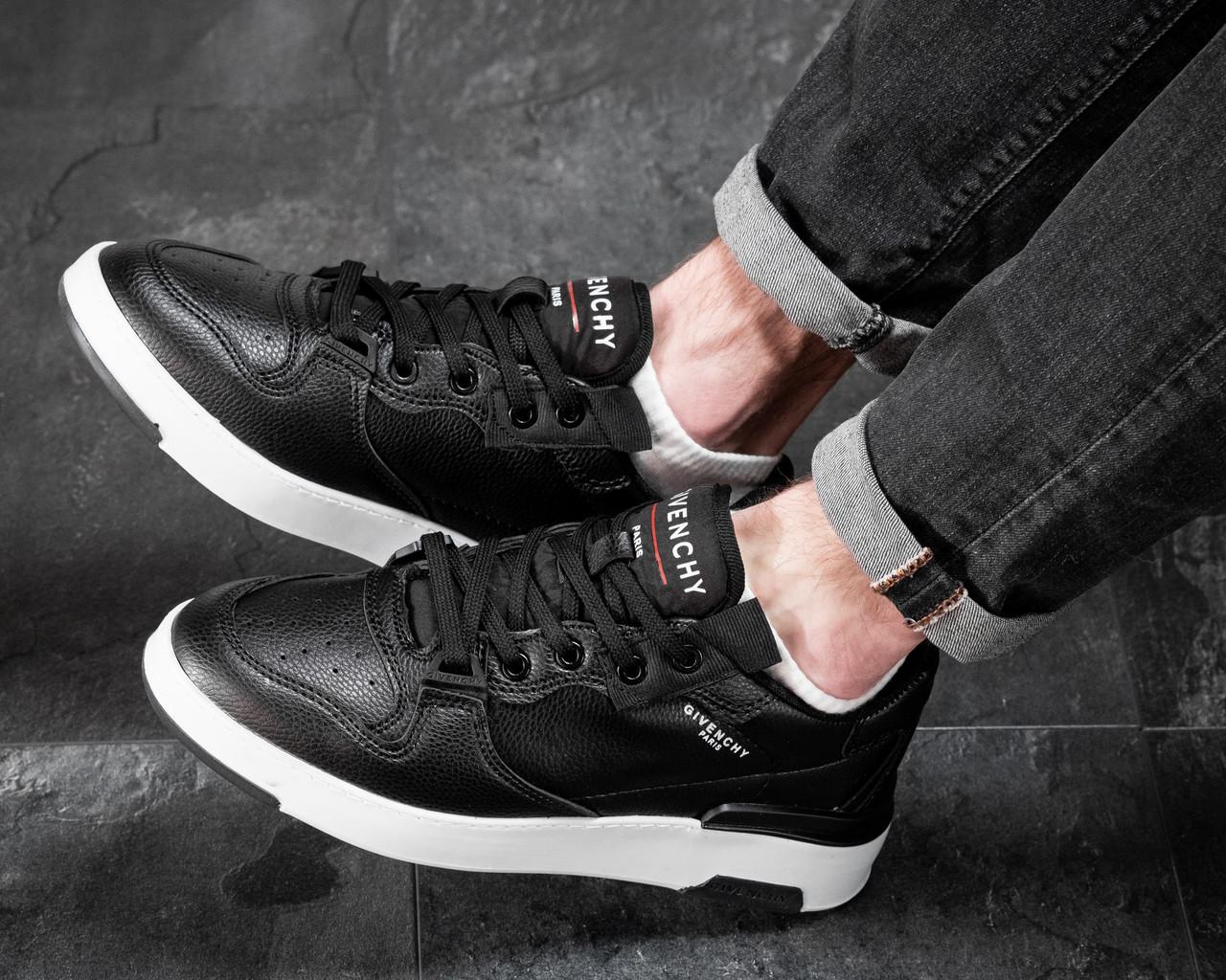 Мужские кроссовки Черные Кожаные, Реплика