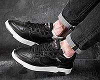 Мужские кроссовки Черные Кожаные, Реплика, фото 1