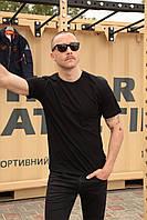 Базовая футболка черная мужская Olymp, хлопковая футболка