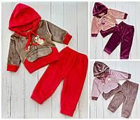 Велюровый детский костюм с рисунком для девочки 1-3 года,цвет микс в упаковке