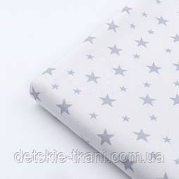 """Відріз фланелі """"Зоряна розсип"""" сіра на білому, розмір 55 * 240 см"""