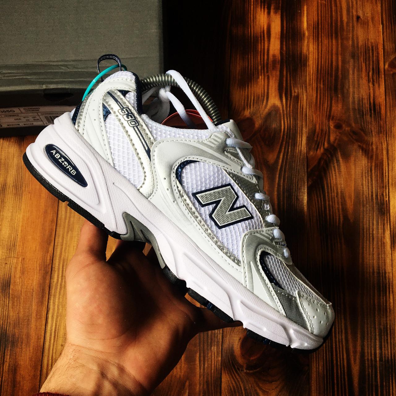Кроссовки мужские New Balance 530 White Blue Нью Беланс 530 Белые с Синим Реплика