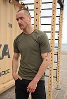 Базовая футболка хаки мужская Olymp, хлопковая футболка