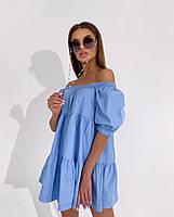 Жіноче літнє коттоновое сукню з відкритими плечима (Норма), фото 5