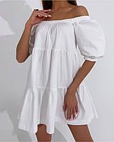 Жіноче літнє коттоновое сукню з відкритими плечима (Норма), фото 2