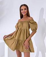 Жіноче літнє коттоновое сукню з відкритими плечима (Норма), фото 3