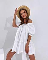 Жіноче літнє коттоновое сукню з відкритими плечима (Норма), фото 7