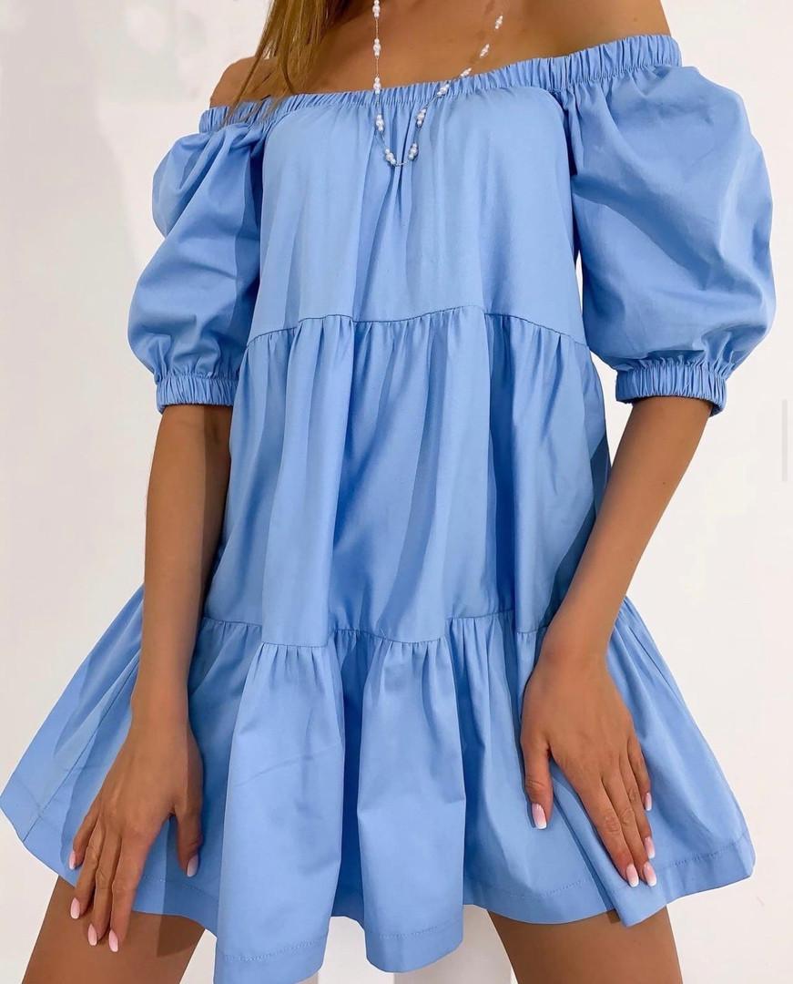 Жіноче літнє коттоновое сукню з відкритими плечима (Норма)