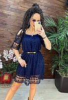 Женское Платье летнее из Гипюра СО СКИДКОЙ 15% Стильное летнее платье с кружевом синего цвета РАЗМЕР S и M