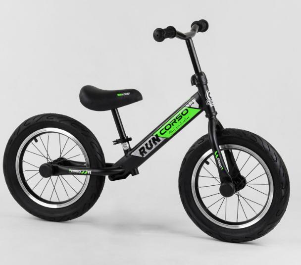 """Детский велобег-беговел Велобег 14"""" CORSO CR-6247  черно-зеленый"""