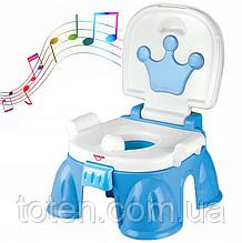 Горшок детский музыкальный  HE0808/HE0809   с короной Синий