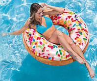 Надувной круг для плавания Большой Пончик 114см, для детей и взрослых Intex Интекс