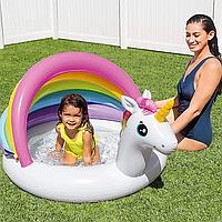 Детский надувной бассейн для малышей с надувным дном, бортом, навесом и крышей Единорог Интекс 57113 на 45 л.