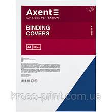 """Обкладинка картонна Axent 2730-02-A """"під шкіру"""", А4, 50 штук, синя"""