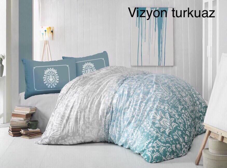 Постельное белье Altinbasak ранфорс 200x220 Vizyon Turkuaz