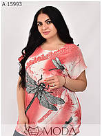 Летняя футболка на женщин размеры 56-62, фото 1