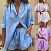 Р 42-52 Летний льняной костюм с шортами Батал 23874-1