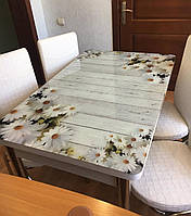 """Раскладной обеденный кухонный комплект стол и стулья с 3D рисунком """"Ромашки на досках"""" ДСП стекло 70*110 3д"""