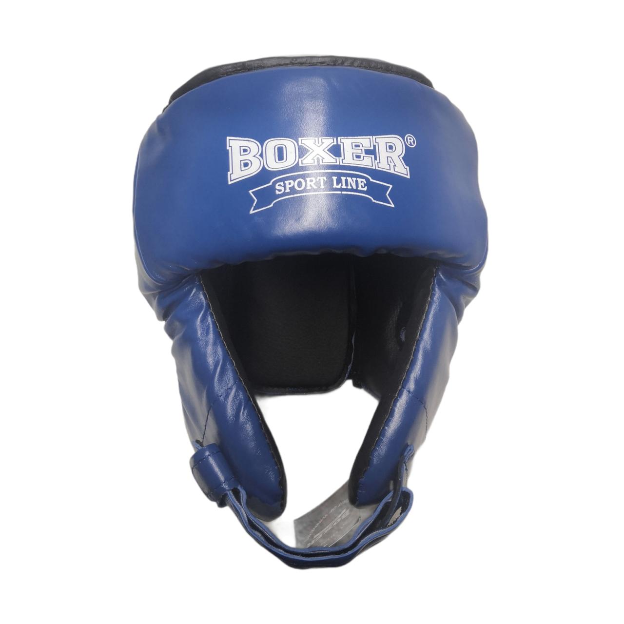 Шлем каратэ Элит L кожвинил, синий BOXER