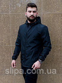 Чёрная мужская ветровка с капюшоном на молнии | 100% полиэстер на тканевой подкладке