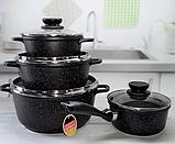 Набор посуды Edenberg EB-9180 8 предметов Черный кастрюли ковш мраморное покрытие, фото 2