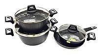Набор посуды Benson BN-344 (7 пр.) с мраморным покрытием | кастрюля с крышкой, сковорода Бенсон, кастрюли