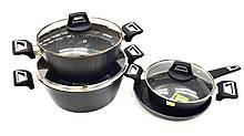 Набір посуду Benson BN-344 (7 тощо) з мармуровим покриттям   каструля з кришкою, сковорода Бенсон, каструлі