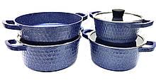 Набір посуду Benson BN-347 (7 тощо) з мармуровим покриттям   каструля з кришкою, сотейник Бенсон, каструлі