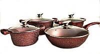 Набор посуды Benson BN-334 (8 предметов) мраморное покрытие | кастрюля с крышкой, кастрюли | сковорода Бенсон