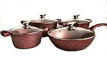 Набір посуду Benson BN-334 (8 предметів) мармурове покриття   каструля з кришкою, каструлі   сковорода Бенсон