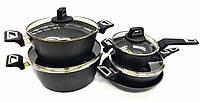 Набор посуды Benson BN-343 (9 пр.) с мраморным покрытием | кастрюля с крышкой, сковорода Бенсон, ковшик