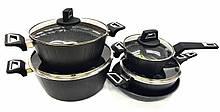 Набір посуду Benson BN-343 (9 тощо) з мармуровим покриттям   каструля з кришкою, сковорода Бенсон, кухлик
