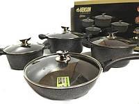 Набор посуды Benson BN-333 (8 предметов) мраморное покрытие | кастрюля с крышкой, кастрюли | сковорода Бенсон