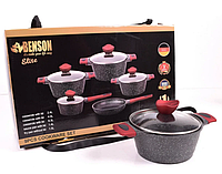 Набор посуды Benson BN-338 (9 пр.) с мраморным покрытием | кастрюля с крышкой, сковорода Бенсон, ковшик